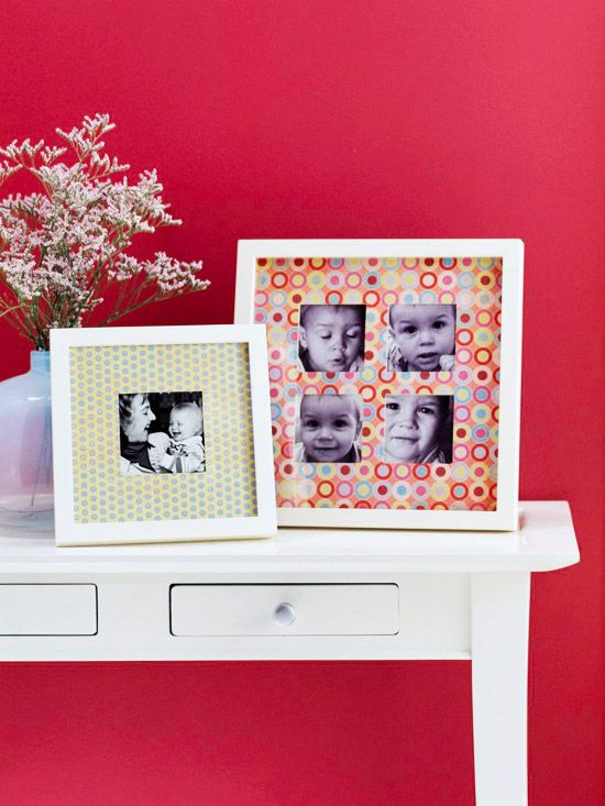 Use patterned paper to create a fun photo mat. More simple craft ideas: www.bhg.com/crafts/easy/1-hour-projects/simple-crafts-under-10-dollars/?socsrc=bhgtr050112simplecrafts