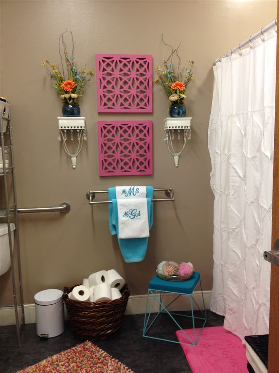 Dorm bathroom bathrooms decor and bathroom on pinterest for College bathroom ideas