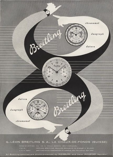 Breitling 1950 Chronomat, Duograph y Datora #vintage #ads #breitling #blackandwhite #layout #print #vintageads