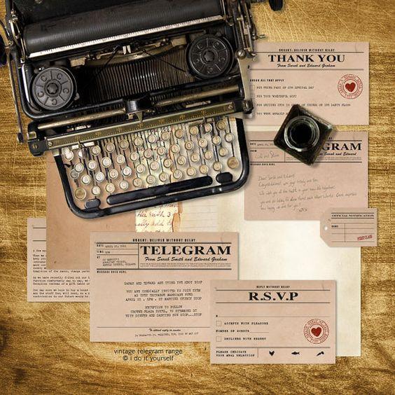 vintage telegram printable wedding stationery set invitation suite 1920s 1930s 1940s invitation, reception or ceremony package