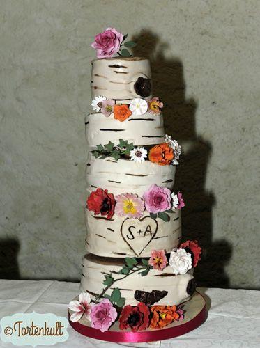 Birke Hochzeitstorte mit Fondantblüten Birch Weddingcake