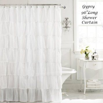 White 96 Extra Long Gypsy Shabby Chic Ruffled Fabric Shower Curtain Home Kitchen