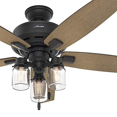 Hunter Fan 52 In Rustic Ceiling Fan With Clear Glass Led Light