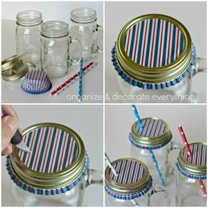 Cute covered mason jars w handles! :)