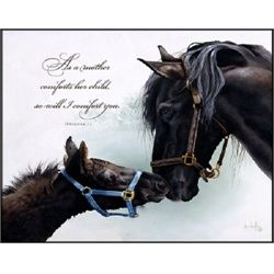 Horse Foal Colt Mare As A Mother Comforts Her Child I Comfort You Wall Art Print   ... $26.77