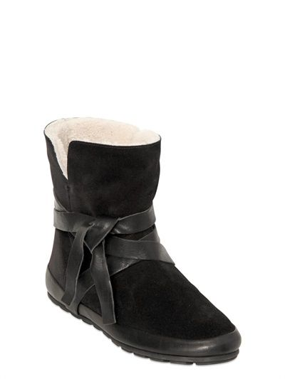 ISABEL MARANT - ETOILE 20MM NYGEL SUEDE SHEARLING BOOTS - LUISAVIAROMA - LUXURY SHOPPING WORLDWIDE SHIPPING - FLORENCE