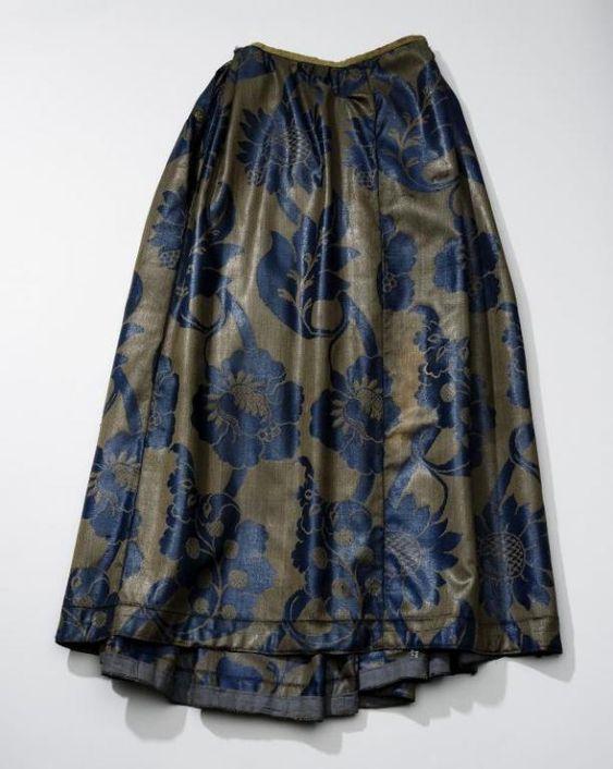 Rok van blauw-bruine wollen damast, West-Friesland | Modemuze