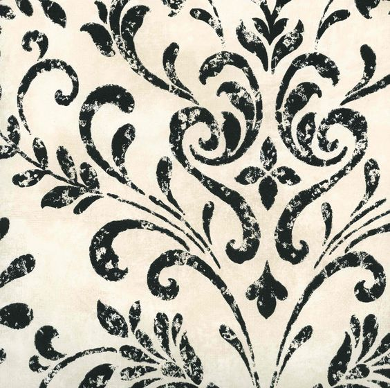 Places damasks and interiors on pinterest for Black and cream wallpaper