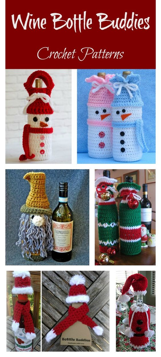 Holiday Wine Bottle Buddies Crochet Patterns #crochetpattern #christmas
