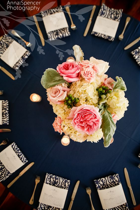 Anna and Spencer Photography, Wedding Reception Table Floral Arrangement, Unique Floral Expressions Atlanta. Peonies, Roses, Hydrangeas. I really like these colors against the navy blue!