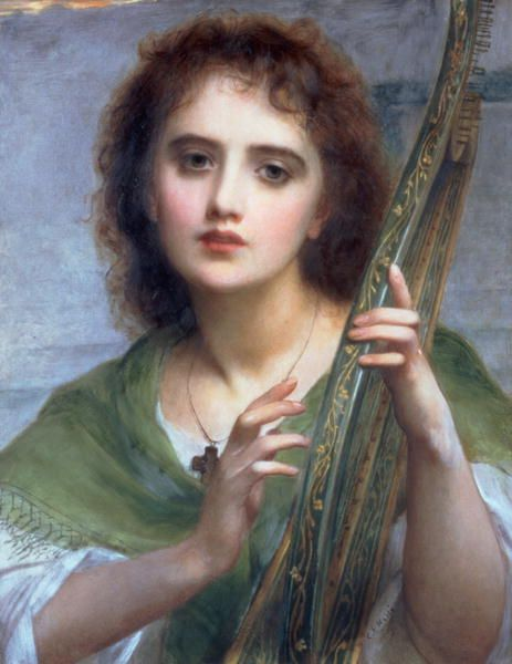 Came across this image while doing research for my daughter's sound experiment.  She is making a homemade lyre from a dried gourd.  Middle school projects...hmmmm.  Charles Edward Halle (1846-1914).  Very Romantic Painting....Love.