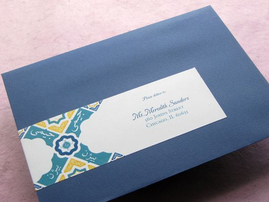 navy envelopes with designed sticker for easy addressing