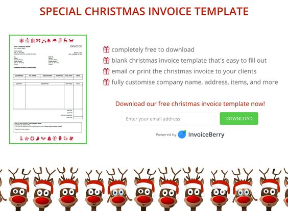 Download our Christmas invoice template now \ get your invoices - paid in full receipt template