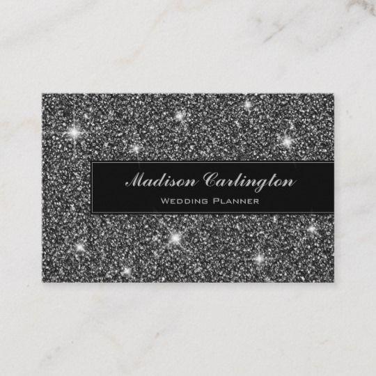 Black Faux Glitter Shimmer Texture Business Card Zazzle Co Uk