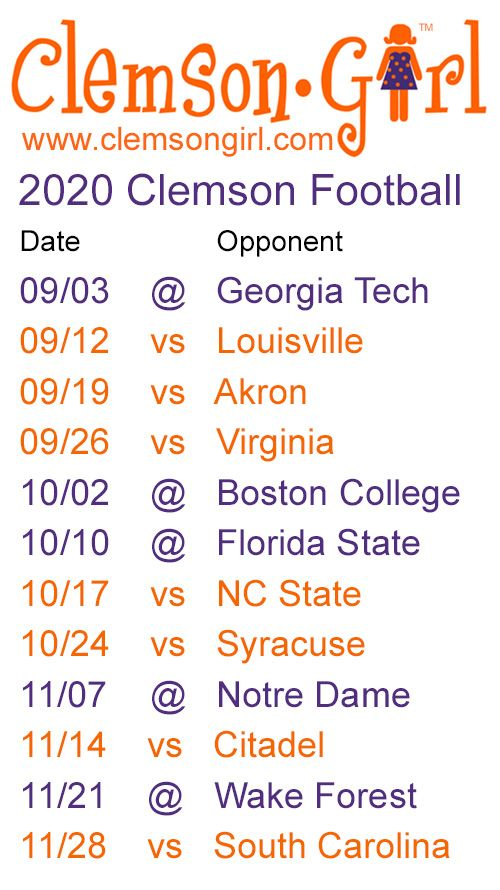 2020 Clemson Football Schedule In 2020 Clemson Football Schedule Clemson Football Clemson Tigers Football