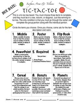 math worksheet : surface area  volume tic tac toe project  math lessons  : Tic Tac Toe Math Worksheets