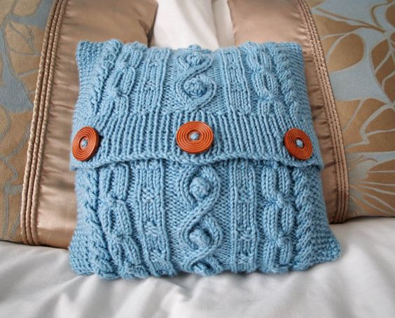 Blue hand knitted aran design mini cushion cover by JenStarKnits