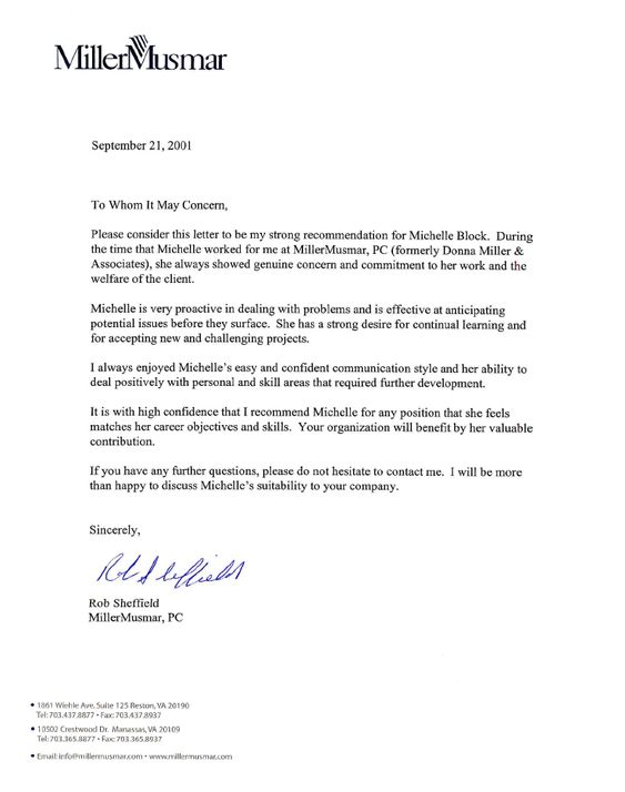 Letter Of Recommendation  R Sheffield  Misc     Listy