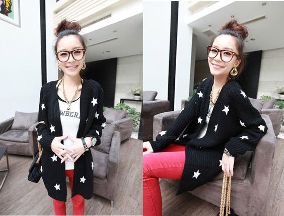 Loose-Fitting Collarless Blocking Color Star Design Long Sleeve Acrylic Fibers Sweater For Women (AS THE PICTURE,ONE SIZE) China Wholesale - Sammydress.com