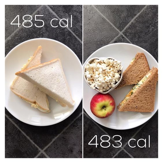 VOLUME 485 calories vs. 483 calories For my clients who struggle with reducing their intake when wanting to lose weight I really focus on where calories are coming from......A lot of my clients say they feel like they are eating more than ever whilst loos