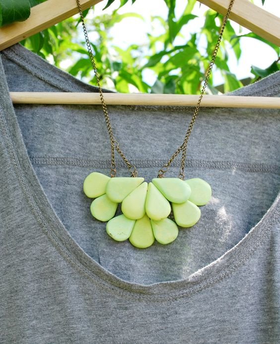Pedals Necklace and Matching Earrings - Statement Necklace - Lime Necklace - Green Necklace - Magnesite Necklace. $36.50, via Etsy.
