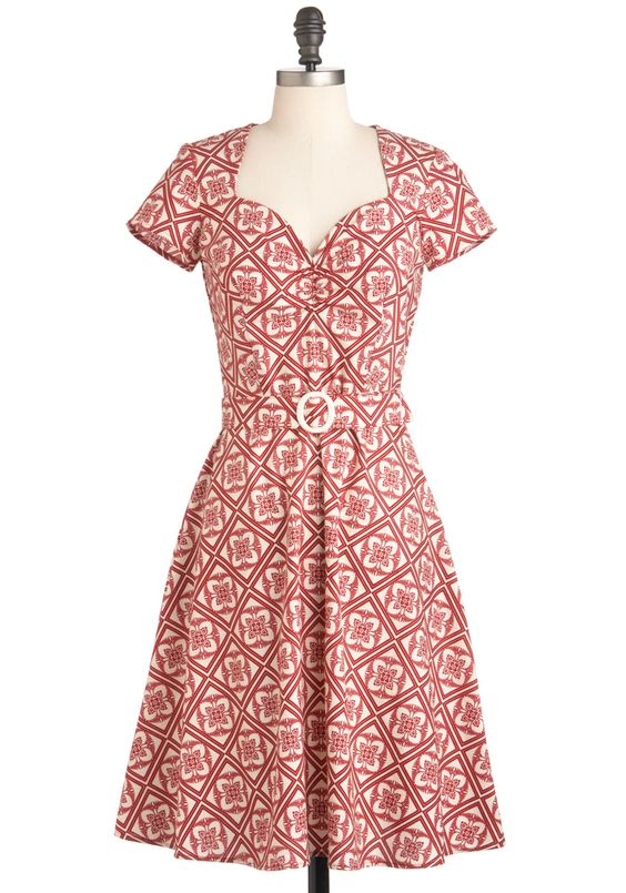 I love the neckline! Give It a Restoration Dress - Long, Belted, Fit & Flare, Short Sleeves, White, Print, Casual, Red, Vintage Inspired, 60s