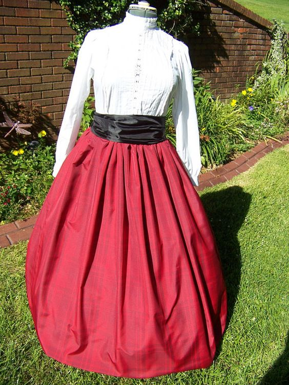 Civil War Skirt with Sash Red Plaid Taffeta by lavonsdesigns, $49.99
