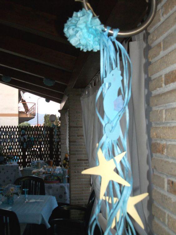 decorazioni di carta per feste a tema marino di Verdecannella su etsy