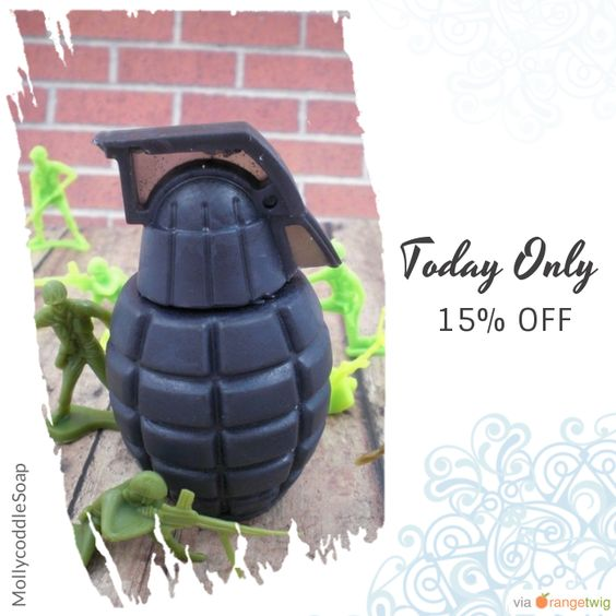Today Only! 15% OFF this item.  Follow us on Pinterest to be the first to see our exciting Daily Deals. Today's Product: Black Grenade Soap Buy now: https://www.etsy.com/listing/61824576?utm_source=Pinterest&utm_medium=Orangetwig_Marketing&utm_campaign=Fall%20Blowout%20Sale   #etsy #etsyseller #etsyshop #etsylove #etsyfinds #etsygifts #musthave #loveit #instacool
