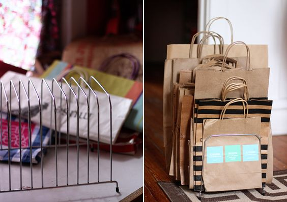 Organize shopping bags with thrift store paper sorter. try spray painting it a fun color! Aunt Peaches: Thrift Store Calling: Paper Sorters Gone WIld.  #funktional