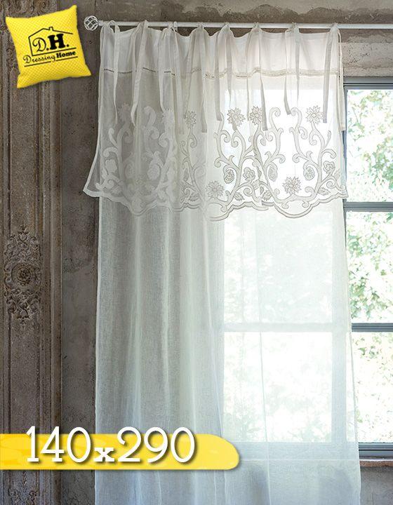 Tenda con Mantovana Shabby chic 100% Lino Colore Ecru Blanc ...