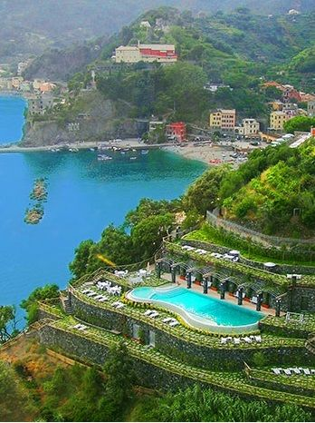 The pool at the Porto Roca Hotel.The Cinque Terre (where this hotel is located) is already an unforgettable destination...this hotel is the cherry on top.