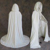 Ivory or Off White Lined Velvet Cloak - Medieval Renaissance Wedding