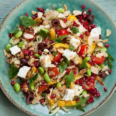 Feta and pomegranate couscous. For the full recipe, click the picture or visit RedOnline.co.uk