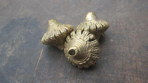 African tribal bicone brass beads, 2 Ashanti brass pendants (20 mm.diam.), Fair Trade beads