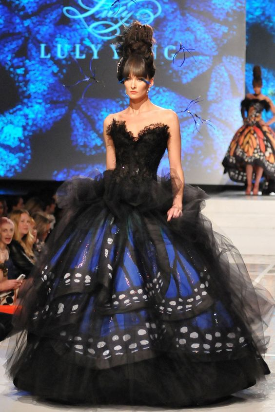 Black & blue morpho butterfly wings print taffeta ball skirt with tulle and Swarovski crystal details. By designer Luly Yang: