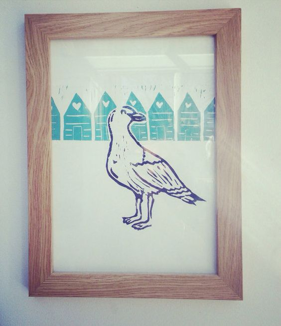 Coastal Living, Gull and Beach Hut Original Linocut on Etsy, £12.00