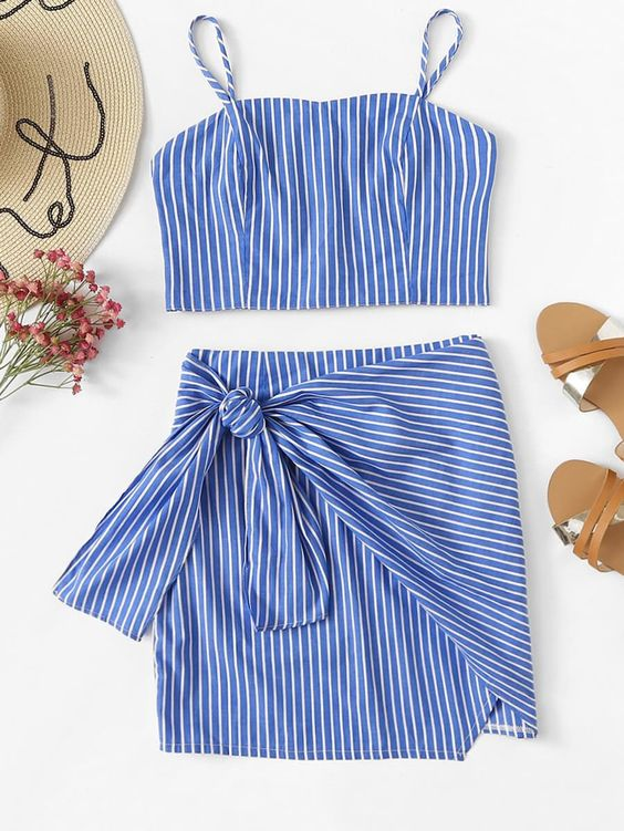 Striped Cami Top With Knot Side Skirt -SheIn(Sheinside)