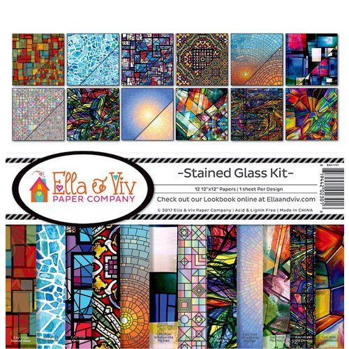 Ella And Viv Paper Company Stained Glass Collection 12 X 12 Collection Kit Stained Glass Kits Clear Acrylic Stamps Glass Collection