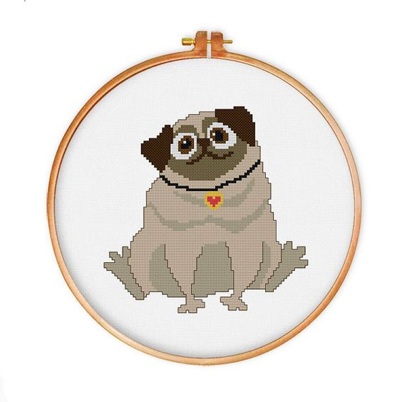 Supercute pug cross stitch pattern
