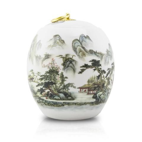 Elegant ceramic cremation urn with a mountain scene and Chinese poetry painted onto the body.