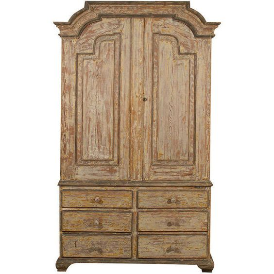 Swedish Period Rococo Cabinet with Original Paint ❤ liked on Polyvore featuring home, furniture, storage & shelves and cabinets