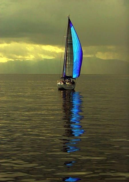 Catching some of the last sun light in the sail just before the sun goes down and another night at sea.