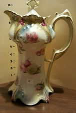 RS PRUSSIA CHOCOLATE POT Beautiful Floral Poppies & Hydrangea with Gold…