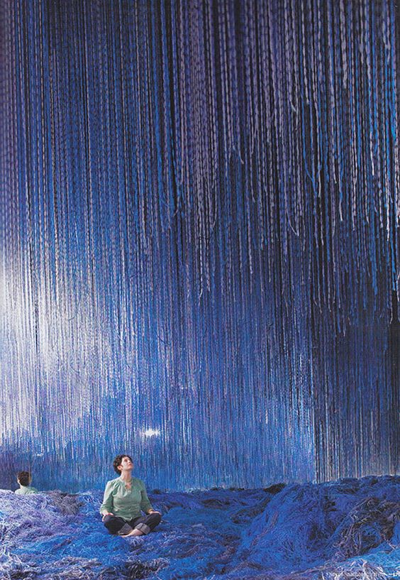 Waterfall made of yarn blue installation art was for Waterfall set design