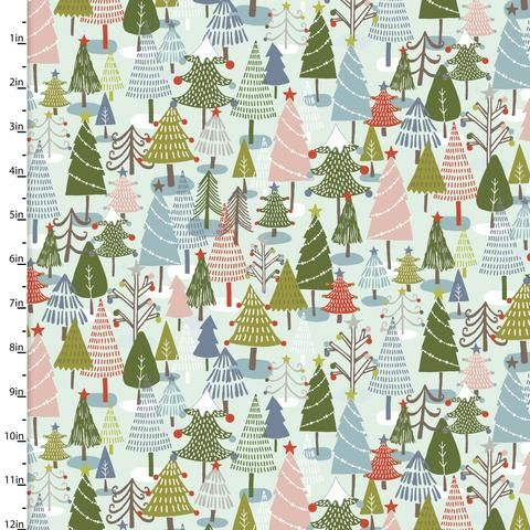Fat Quarter Liberty Christmas Sparkling Forest Gn Cotton Quilting Sewing Fabric
