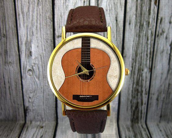 Akustische Gitarre Watch Leder-Watch Damenuhr von RedJuanShop