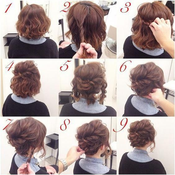 Casual Updos For Short Hair Shortcurlyhair Casual Hair Short Shortcurlyhair Updos Short Hair Up Short Hair Updo Medium Hair Styles
