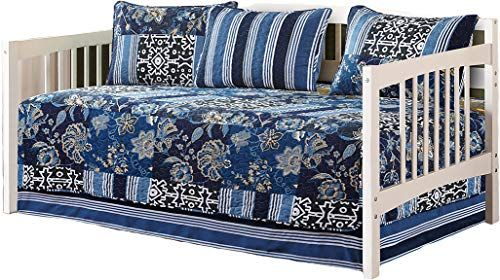 Fancy Collection 5pc Day Bed Cover Floral Navy Blue Black New 0074 Bed Spreads Bed Covers Bed