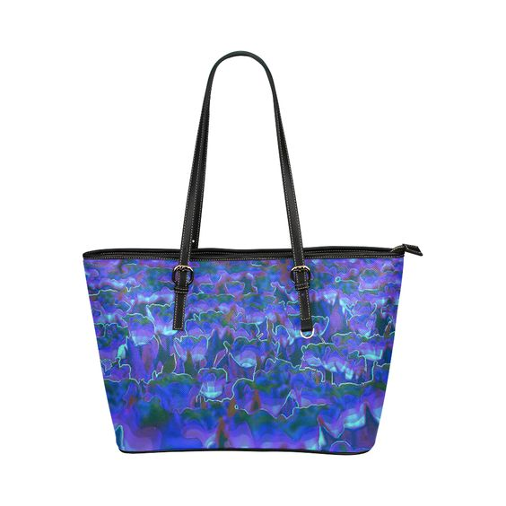 Comic of flowers purple Leather Tote Bag/Large (Model 1651)